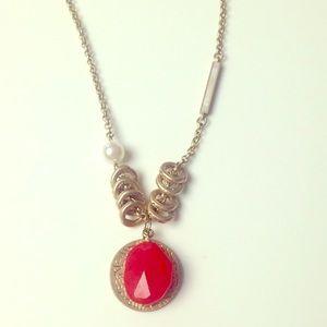 NWOT! Lia Sophia gold&coral pendant necklace
